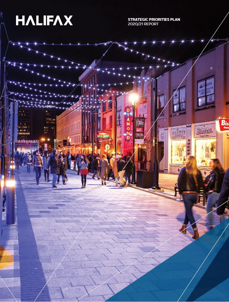 The cover image of the strategic priorities plan, showing Argyle Street at night