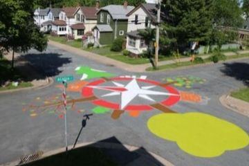 street painting at intersection