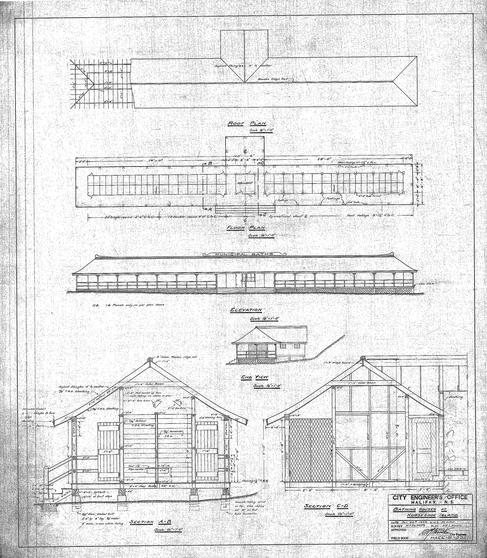 Black and white architectural plans for bathing house at Horseshoe Island, 1926.
