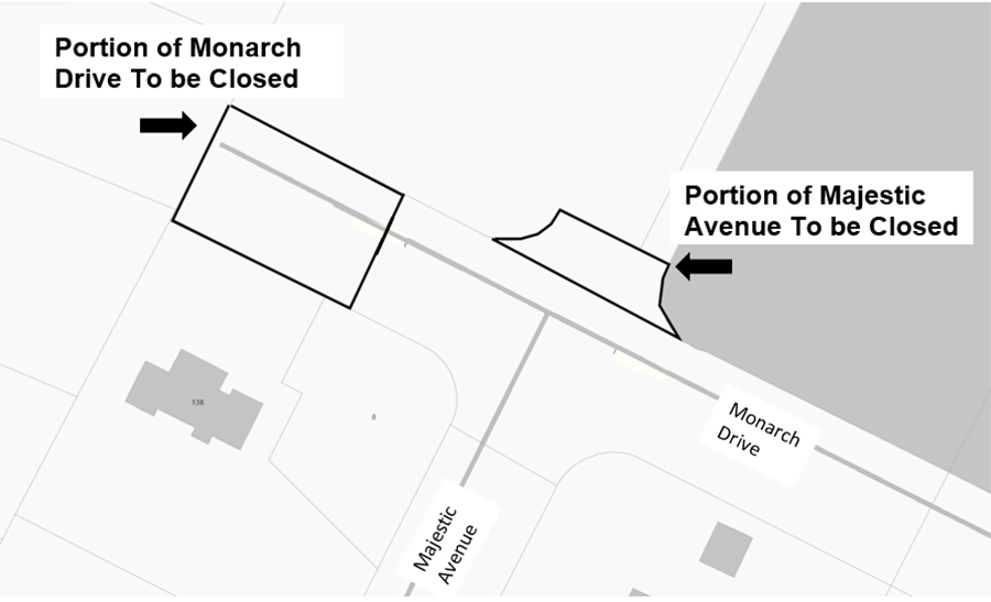 Majestic Avenue and Monarch Drive Partial Street Closure Sketch