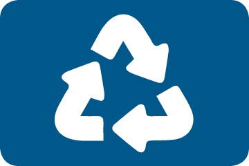 the recycling symbol in white with a blue background
