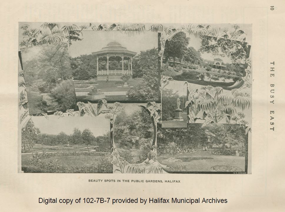 Black and white scan of page from The Busy East with a compilation of photographs of the Halifax Public Gardens
