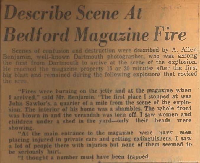 Newclipping: Describes Scene at Bedford Magazine Fire