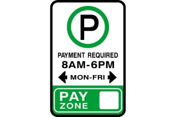 A parking sign that reads: Payment Required, 8AM-6PM Monday to Friday. Pay Zone X.