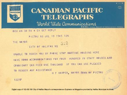 Canadian Pacific Telegram from H.F. Harper, Mayor of Pictou to Mayor of Halifax offering food and shelter, July 19, 1945