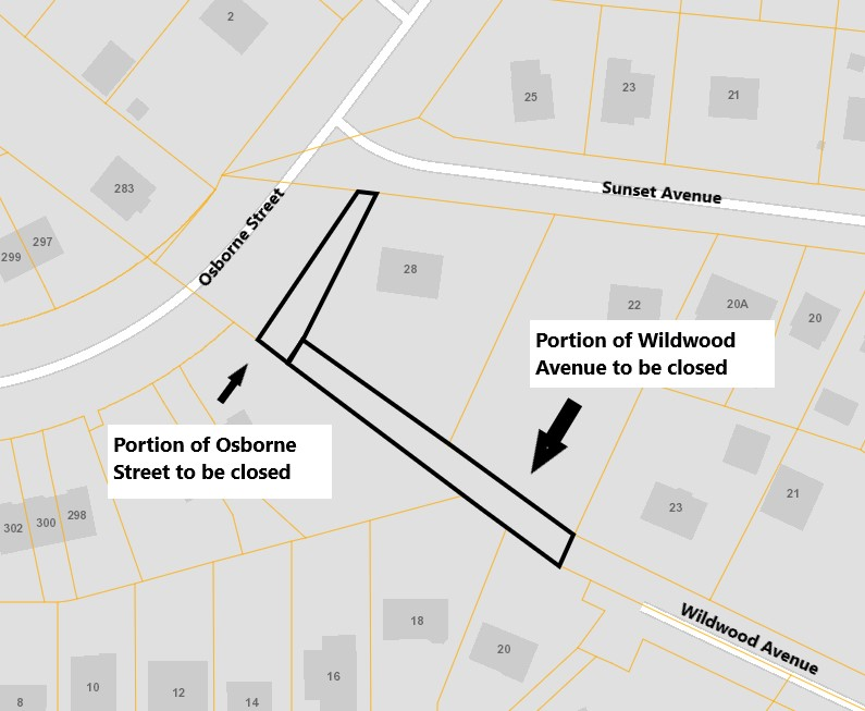 Osborne Street and Wildwood Ave sketch of section closing