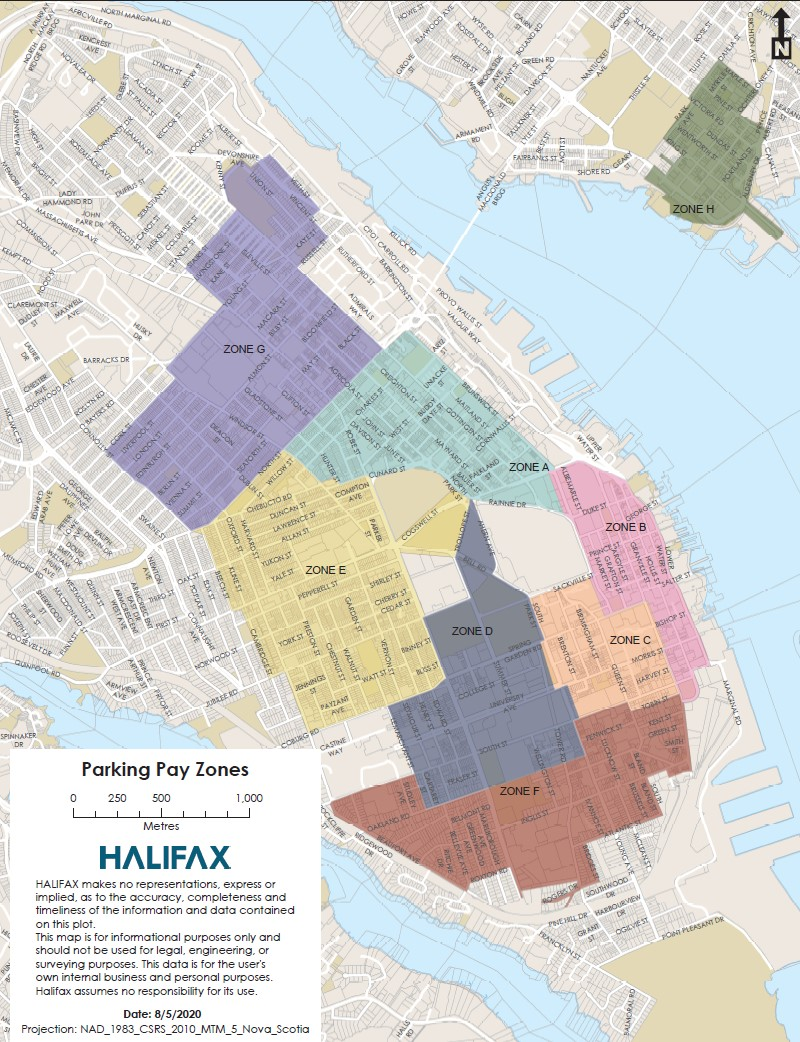 A map of peninsula Halifax and downtown Dartmouth displays different coloured overlays and different parking zones, noted A-H.