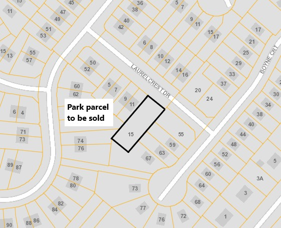 Laurelcrest Drive Parkland sketch of section closing