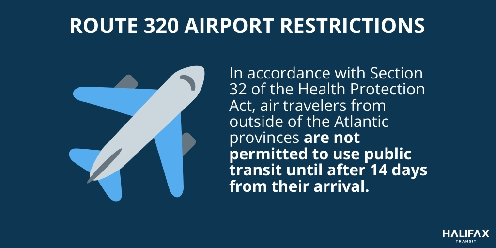 Air travelers from outside of the Atlantic provinces are not permitted to use public transit until after 14 days from their arrival.