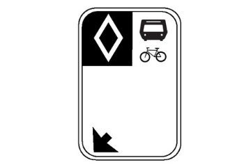 A sign with a diamond symbol, bus icon, and arrow. This indicates a lane is a bus lane at all times.