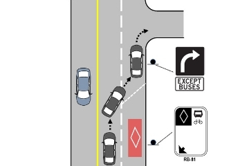 A diagram shows a car travelling in the centre lane, then moving to the right hand lane to complete a right hand turn