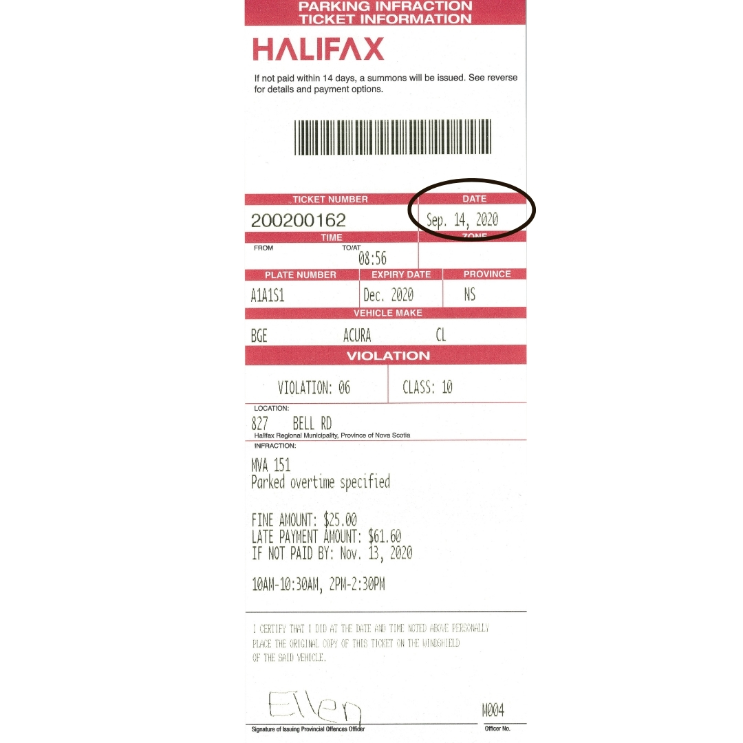 "A parking ticket with the ""Date Issued"" section circled."