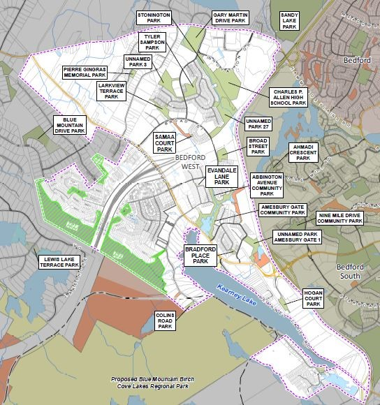 existing and future parks in Bedford West