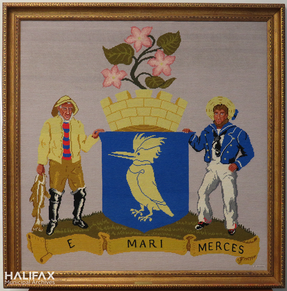 Colour photograph of framed needlepoint of the City of Halifax crest