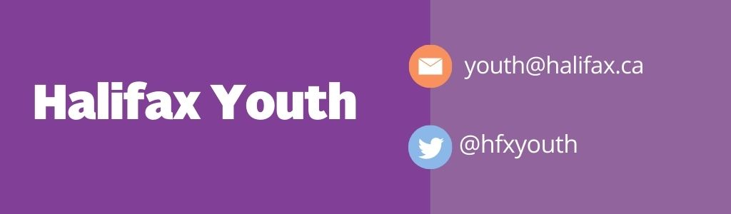 "text says ""Halifax Youth"" with youth@halifax.ca email and @hfxyouth twitter"