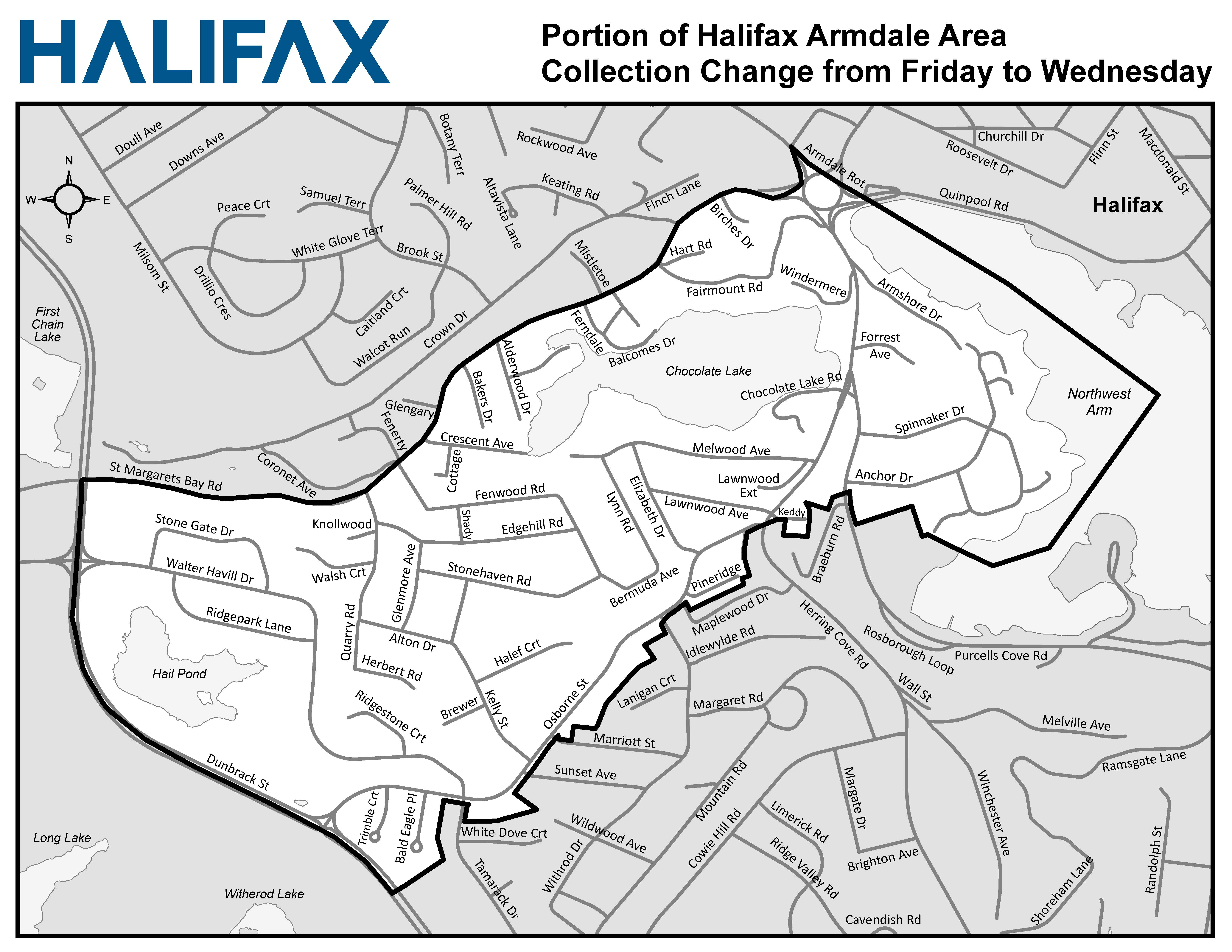 Portion of Halifax Armdale Area Collection Change from Friday to Wednesday (unshaded)
