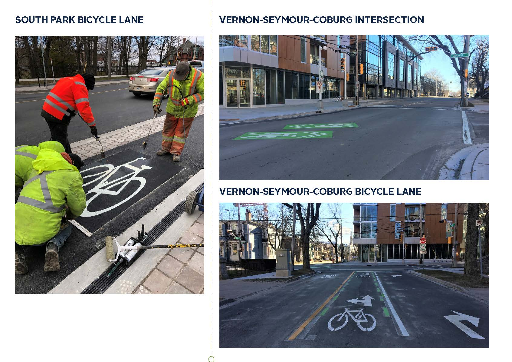 Images of the AAA bikeways in the regional centre