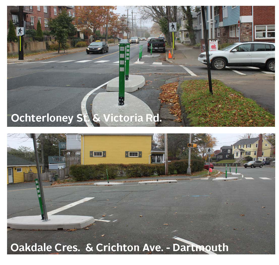 Photos of tactical urbanism at Ochterloney and Victoria  plus Oakdale and Crichton