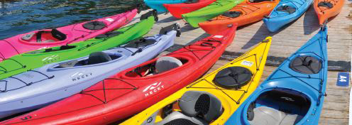 a photo of kayaks