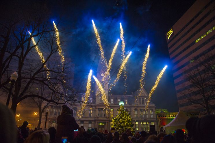 Fireworks At The Halifax Christmas Tree Lighting