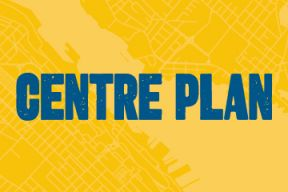 Centre Plan in blue text with a yellow background showing a map of the regional centre of Halifax