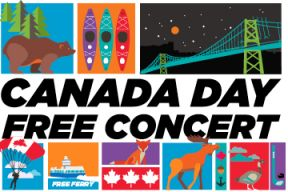 Poster with a mix of illustration and photos promoting Canada Day