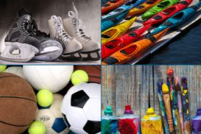 Image of skates, sports balls, paint brushes and kayaks for recreation use.