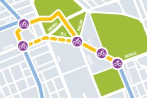 Map graphic displaying local streets being considered for bikeway route improvements.