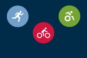 icons demonstrating running, wheelchair use and cycling