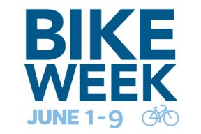 A logo for Bike Week. Displays the words Bike Week in blue and includes of graphic image of a light blue bicyle.