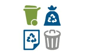 Four icons arranged in two columns: a grey garbage can, a green compost bin, a blue recycling bag, and a blue piece of paper