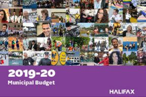 A collage of images and the text 2019-2020 municipal budget