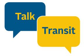 "The words ""Talk"" and ""Transit"" are in two speech bubbles, coloured yellow and blue"