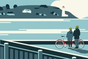 A digital graphic design of two people looking over the harbour while taking a break from riding a tandem bike.