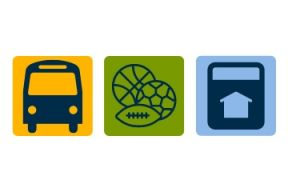 Three graphics of a bus, some sports balls, and a tax bill
