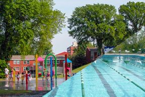 a split screen of a splashpad and outdoor pool