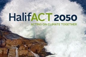 "a photo of a wave crashing against a rock with the text ""HalifACT 2050: Acting on climate together"""