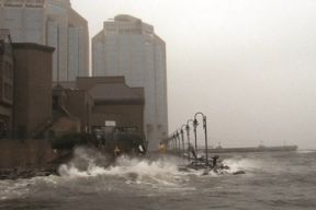 Storm surge on the Halifax Waterfront next to the Marriott Harbourfront during a storm