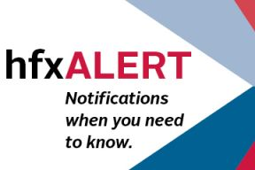 A photo of the hfxALERT brand and message that says 'notifications when you need to know'