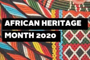 A photo of traditional African beads with African Heritage Month 2020 text.