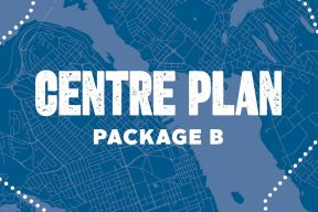 Blue square graphic with text Centre Plan Package B