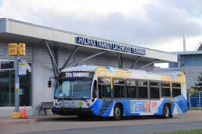 a Halifax Transit bus is parked in front of the Lacewood Transit Terminal