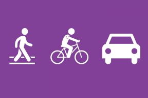 a walking icon, cycling icon, and a car icon on a purple background