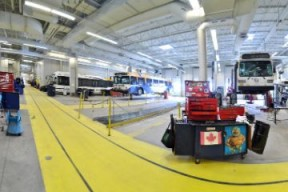 An image of two Halifax Transit buses in the Ragged Lake bus garage.