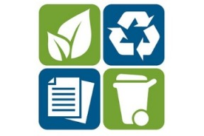 Icon of a leaf, icon of a recycling symbol, icon of paper, icon of a compost cart