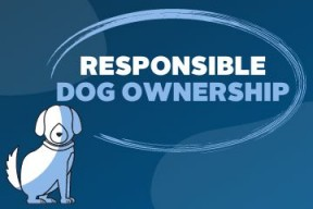 A graphic photo of a cartoon dog facing forward and text reading: Responsible Dog Ownership. This image is done in blue tone