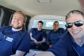 Photo of staff and participants on a job in the youth live trucks