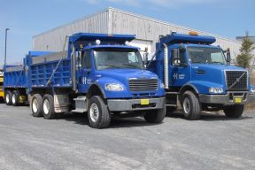 Halifax Water trucks preparing to go to a job site