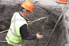 Halifax Water employee replacing a lead service line