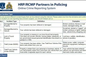 Picture of the Halifax Regional Police online crime reporting system landing page